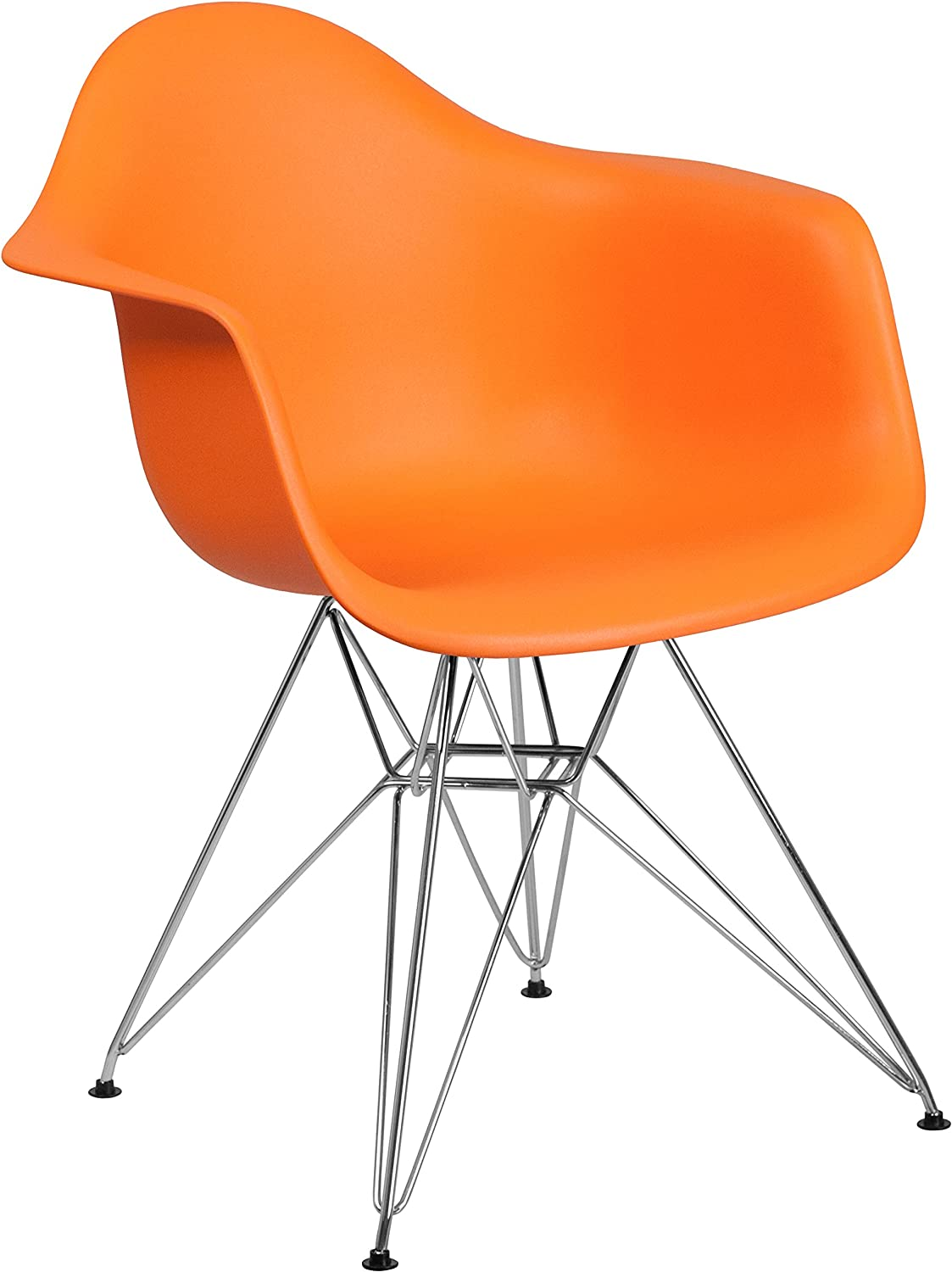 Flash Furniture Alonza Series Orange Plastic Chair with Chrome Base