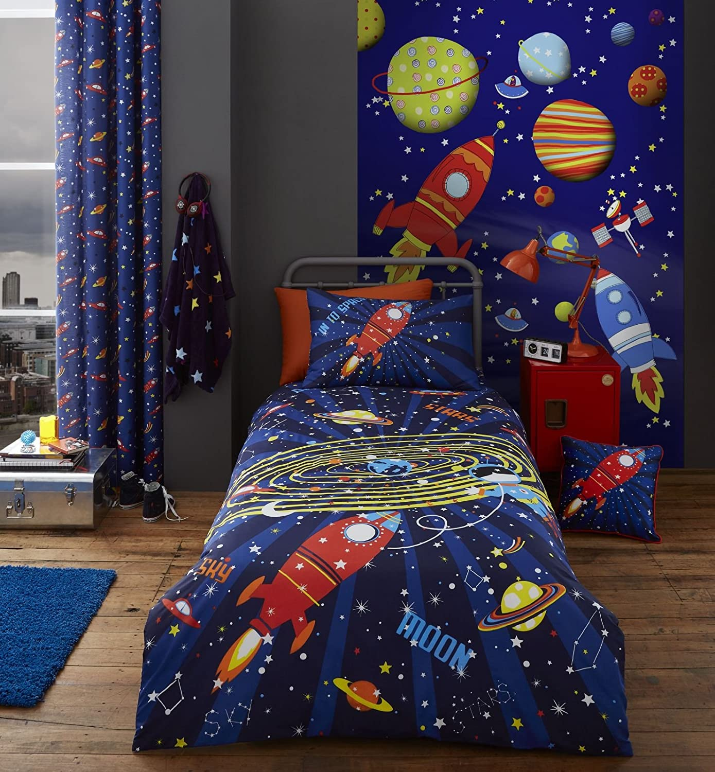 Catherine Lansfield Outer Space Eyelet Curtains, Blue, 66 x 72-Inch 66 x 72-Inch Turner Bianca BD/45292/W/E6672/BL
