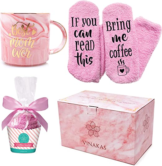 Amazon Com Vinakas Birthday Gift For Mom 12oz Gold And Pink Ceramic Marble Mom Mug Reads Best Mom Ever And Fuzzy Socks Perfect Gifts For Mom Or New Mom Gifts Kitchen