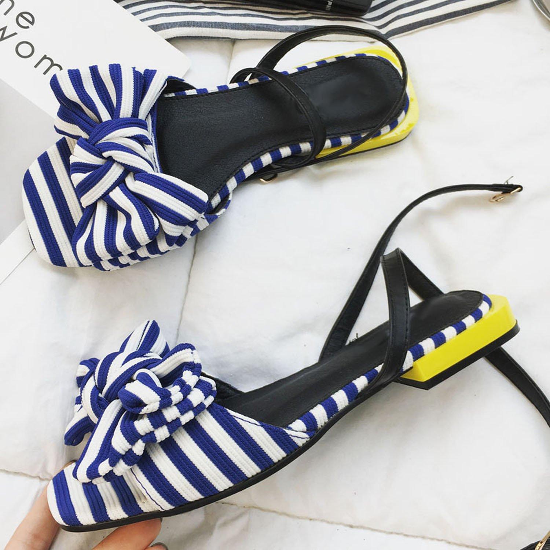m. / mme loft été 2018 douce femme chaussures chaussures femmes à talons bas le grand ruban de femmes chaussures sexy open orteil tête carrée bleu - noir vente en ligne de la qualité et de la quantité garantie forte chaleur et la résistance à la chaleur bh3075 a884fc