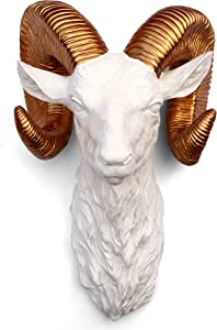 Faux Taxidermy Ram Sheep Head Golden Horns Wall Mount Hanging Décor Resin Art Boho Sculpture (White with Gold)…