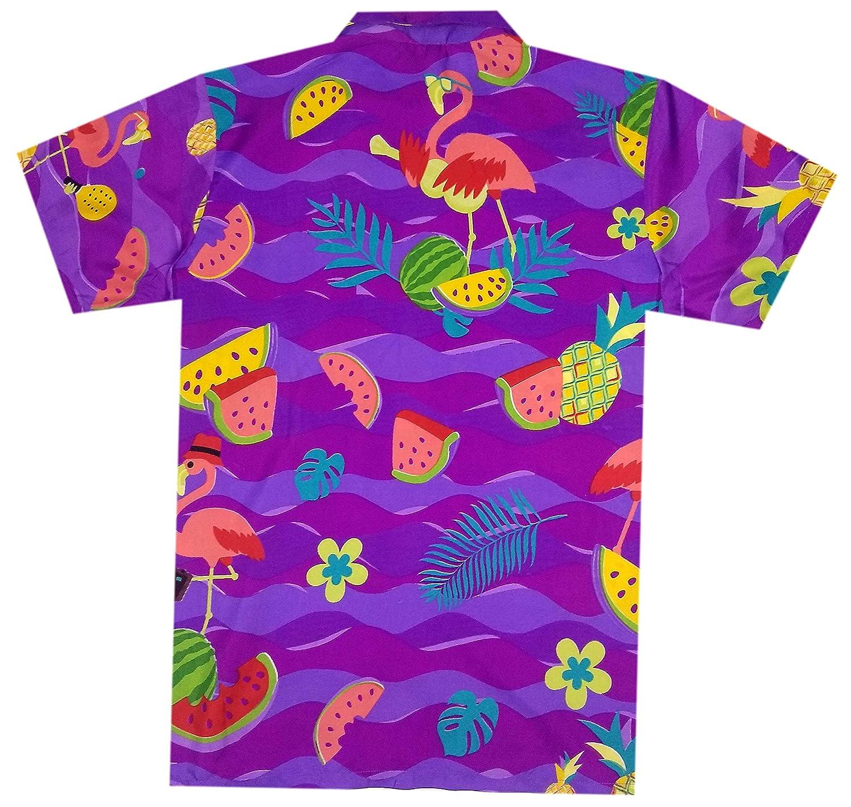 Virgin Crafts Funky Hawaiian Shirts for Men Button Dowon Flamingo Print Aloha