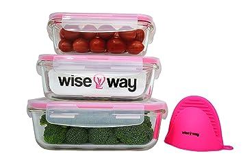 Wise Way Tápers para Comida - Juego de 3 Recipientes de Cristal con Tapa Herméticos Porta Alimentos Reutilizables sin BPA para Lavavajillas, ...