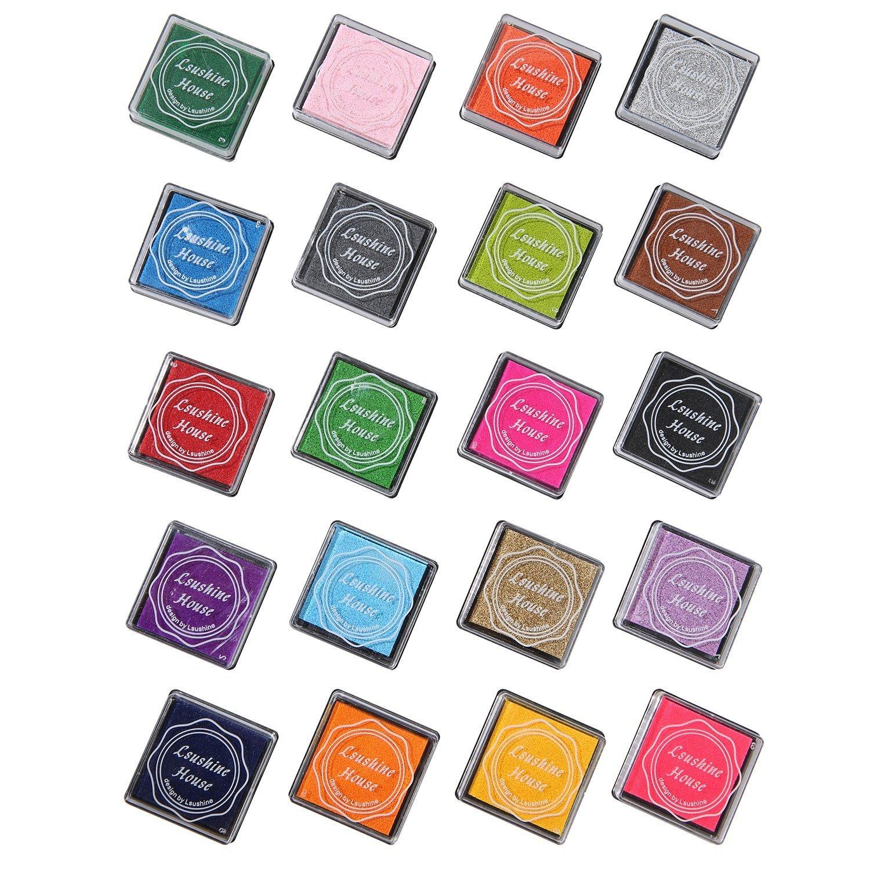 cuddty 20Farben Tinte Pad Briefmarken, Kreativ DIY RAINBOW Farbe Finger wasserlöslich Gummi Briefmarken Crafts Stempelkissen Set Scrapbooking Druck Karte machen für Kinder 6 Stück Briefmarken