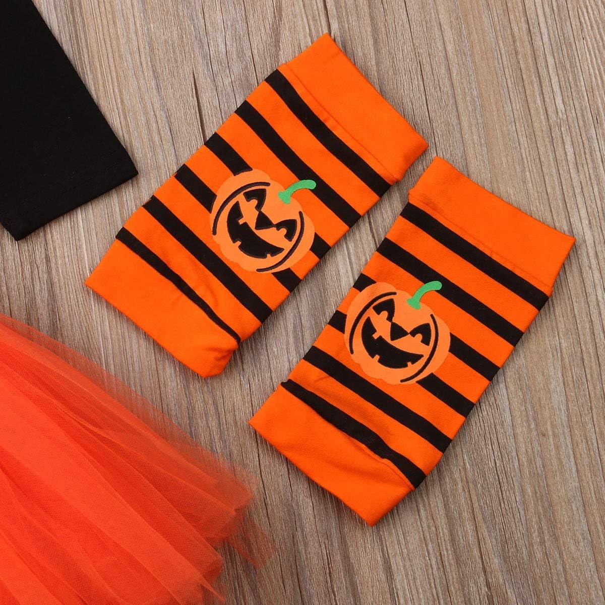 Toddler Baby Girls Halloween Outfit My 1st Halloween Pumpkin Romper Tutu Skirt Leg Warmer Headband 4PCS Set