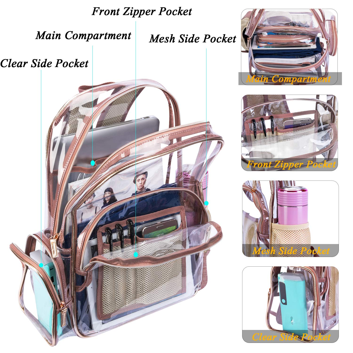 NiceEbag Clear Backpack with Cosmetic Bag & Case, Clear Transparent PVC Multi-pockets School Backpack Outdoor Bookbag Travel Makeup Quart Luggage Pouch Organizer Fit 15.6 Inch Laptop (Rose Gold) by NiceEbag (Image #4)