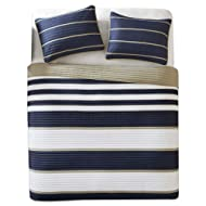 Comfort Spaces - Verone Mini Quilt Coverlet Set - 2 Piece - Navy, White, Khaki - Stripes Pattern - Twin/Twin XL Size, Includes 1 Quilt, 1 Sham