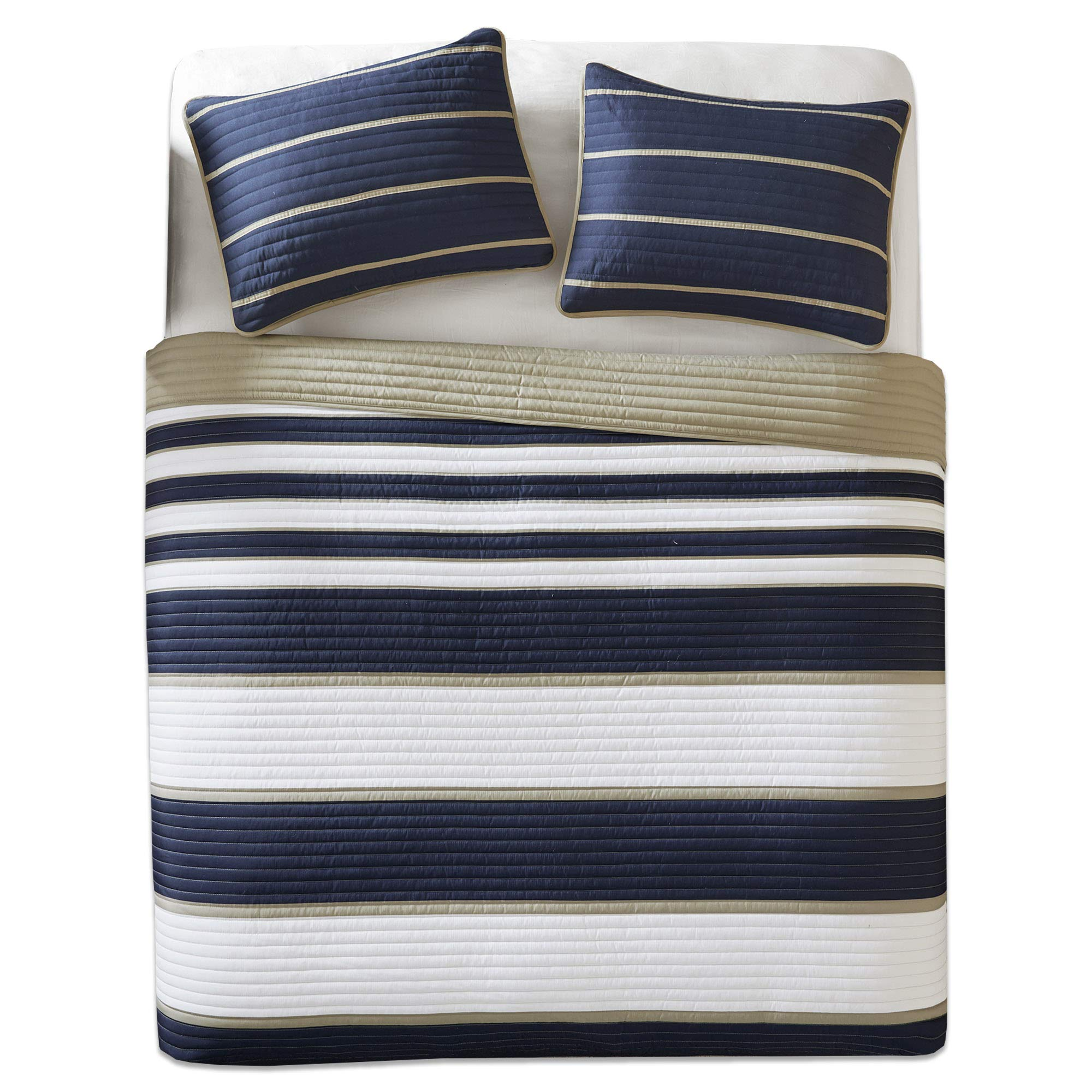 Comfort Spaces - Verone Mini Quilt Coverlet Set - 3 Piece - Navy, White, Khaki - Stripes Pattern - Full/Queen Size, Includes 1 Quilt, 2 Shams