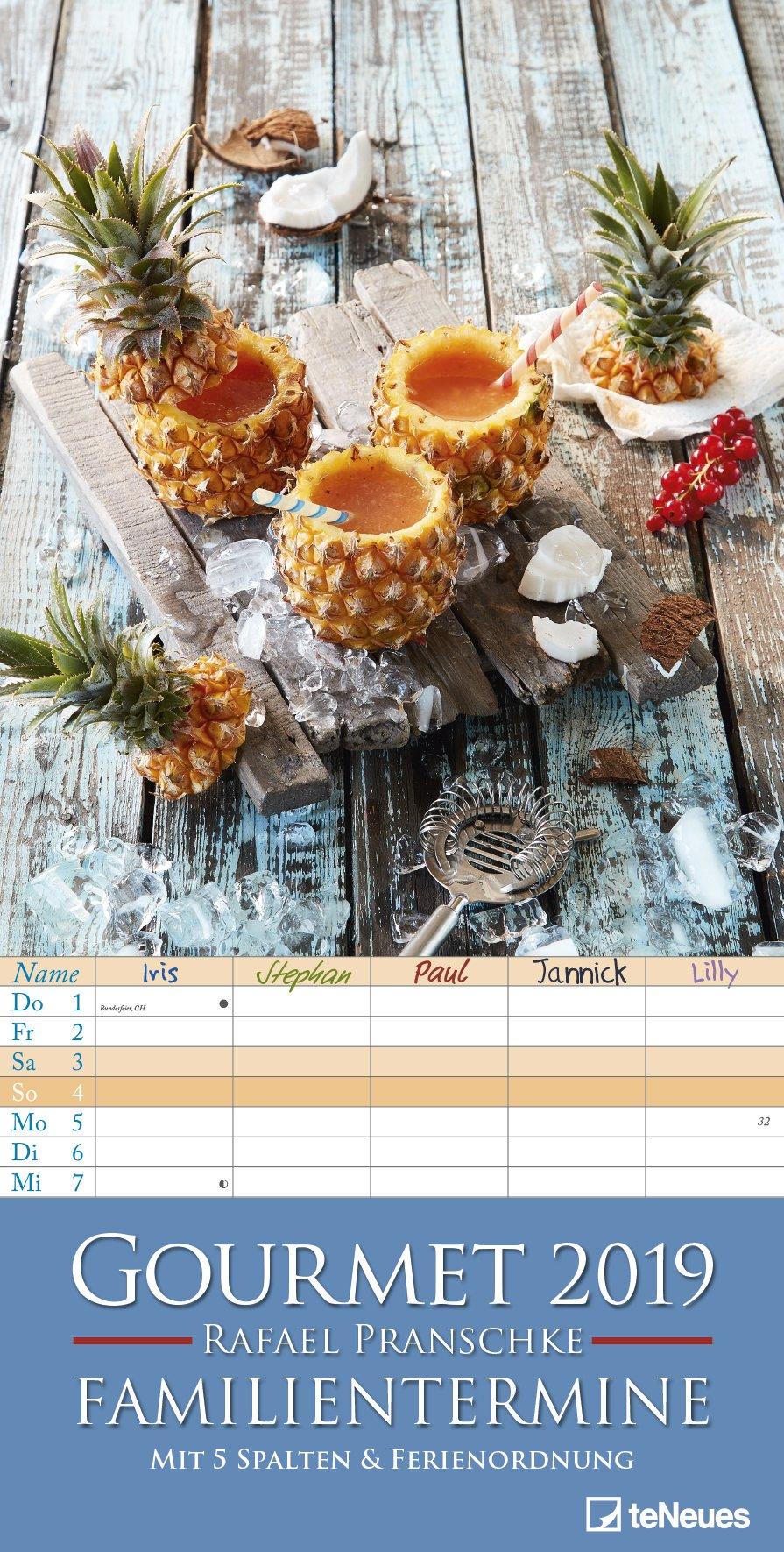 Gourmet Familientermine 2019 - Familienplaner mit 5 Spalten, Küchenkalender - 23 x 45,5 cm Kalender – Terminkalender, 15. Juli 2018 B077ZCWFG5 Essen und Trinken / Sonstiges Kalender / Kochen Kalender / Zeitplansysteme
