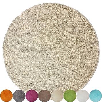 Tapis de bain rond Lasalle anti-glissant en beige (diamètre 60 cm1200 g/m²)  - Plusieurs couleurs au choix