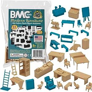 BMC Classic Marx Mid-Century Modern Furniture - 32pc Plastic Playset Accessories