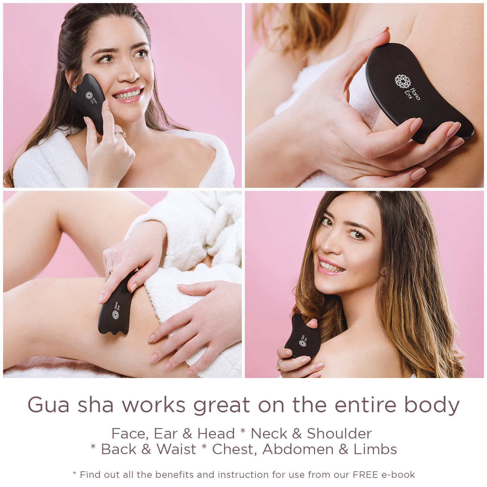 4 Gua Sha Scraping Massage Tools with Smooth Edge ✮ High Quality Handmade Sibin Bian Stone ✮ Face and Body ✮ Physical Therapy Tool for Graston, IASTM, ASTYM ✮ STORAGE BAG ✮ E-BOOK BONUS (Complete Set) by Hana Emi (Image #4)
