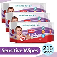 LuvLap Baby Sensitive Wipes, Fragrance Free, 72 Wipes, Pack of 3 Combo