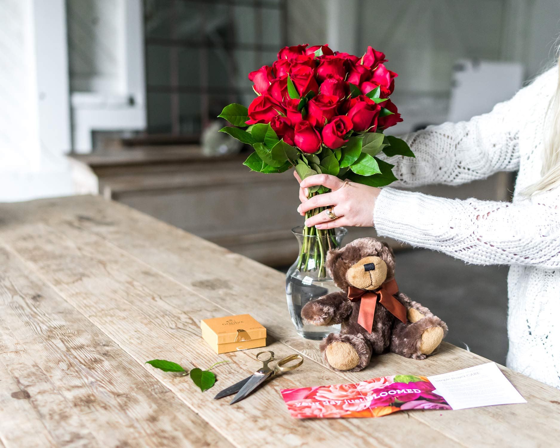Flowers - Two Dozen Long Stemmed Red Roses with Godiva Chocolates & Bear (Free Vase Included) by From You Flowers (Image #4)