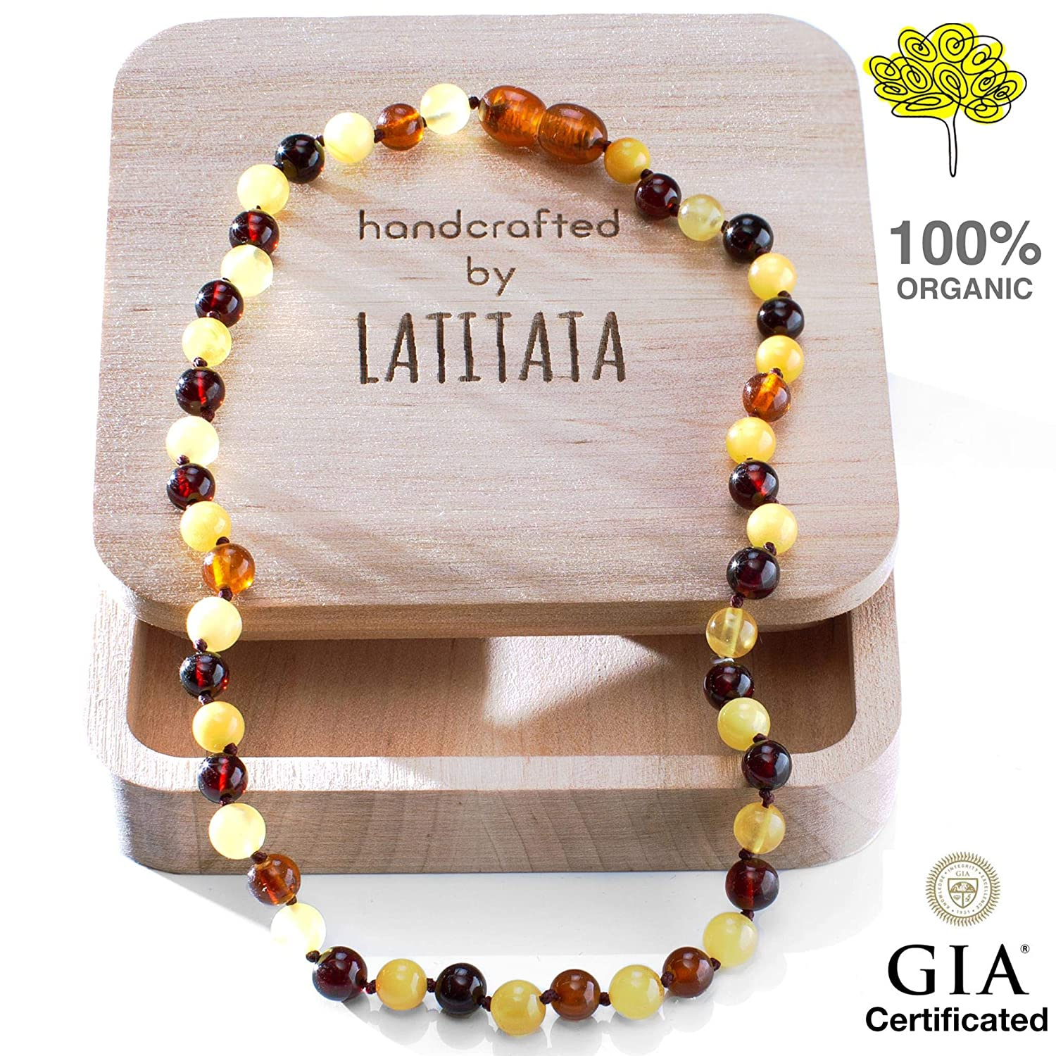 Amber Teething Necklace for Baby - Round Organic Raw Baltic Amber Beads - Anti Inflammatory Drooling & Teething Pain Relief - GIA Certificated Natural Jewelry for Boys and Girls - Handcrafted LATITATA CRAFT
