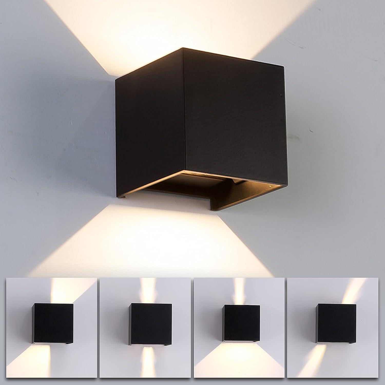 12W Lámpara LED de pared de aluminio Impermeable IP65,para interiores y exteriores, luz blanca cálida de 3000 K, ángulo de haz ajustable para salón, dormitorio, jardín, escalera, camino (Blanco) [Clase de eficiencia energética A++] Tecpack