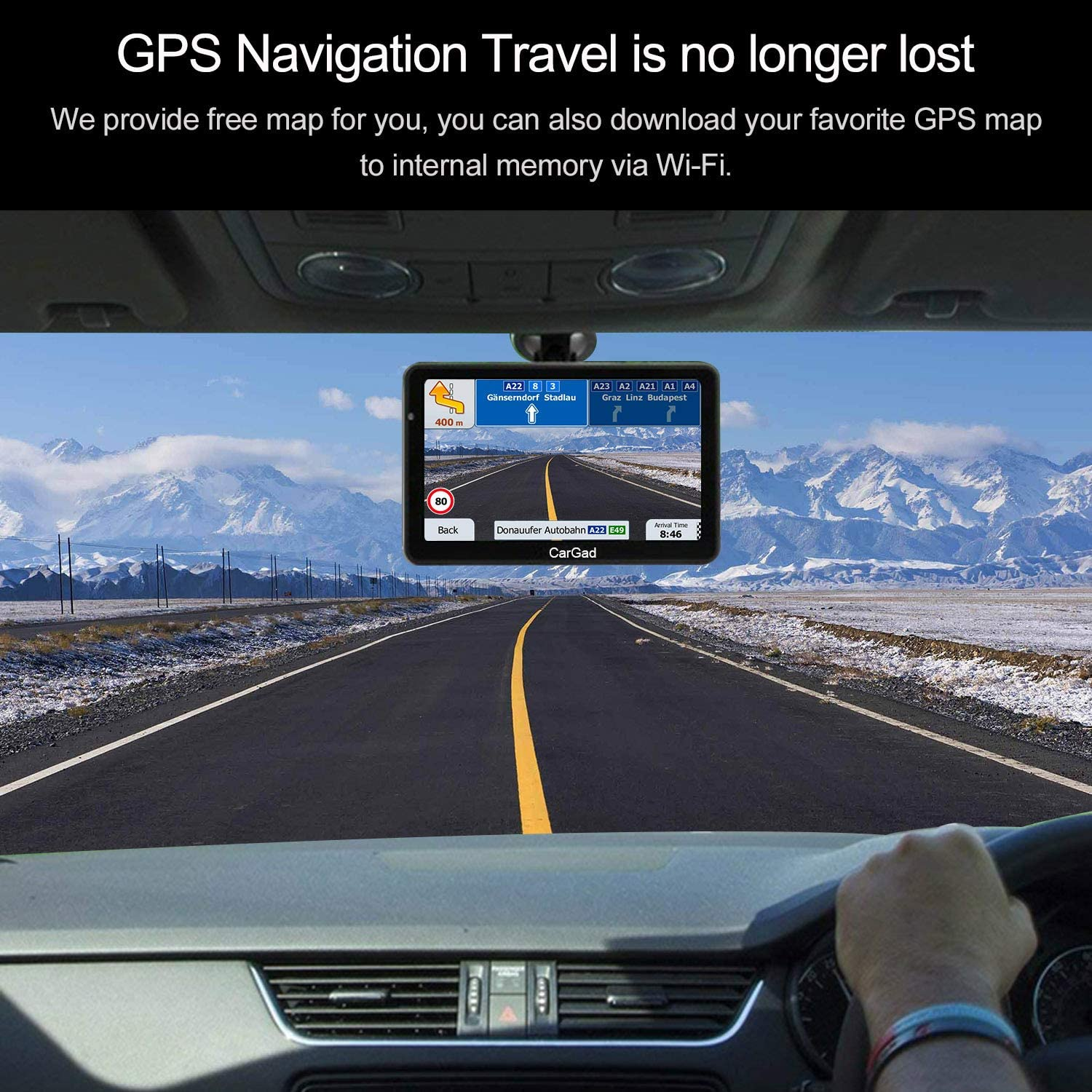 GPS Navigation for car 7 inch//8GB Aonerex Vehicle GPS Navigation System with Built-in Lifetime Maps,FM Car Navigation and Spoken Turn-by-Turn Directions