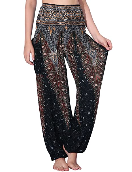 ee537386afaca NORMOV Boho Harem Pants for Women Bohemian Yoga Loose Peacock Feather High  Waisted Active Pants Black