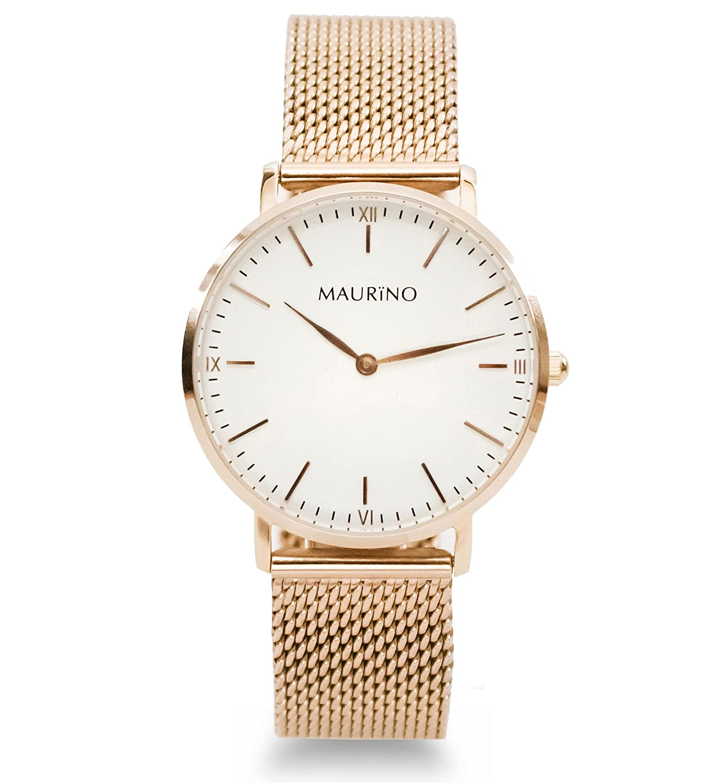MAURINO Damen Armbanduhr Analog Quarz Edelstahl Rose Gold 36mm M01620