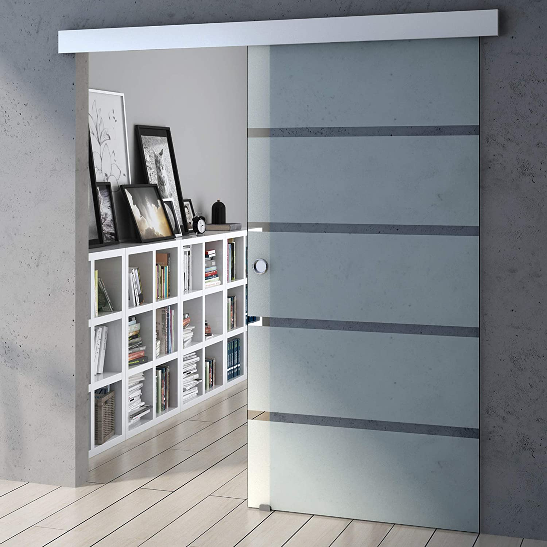 Sogood porte coulissante int/érieure en verre 90cm x 205cm porte glissante pour chambre cuisine buro poign/ée de porte ronde Amalfi TS11-900SC