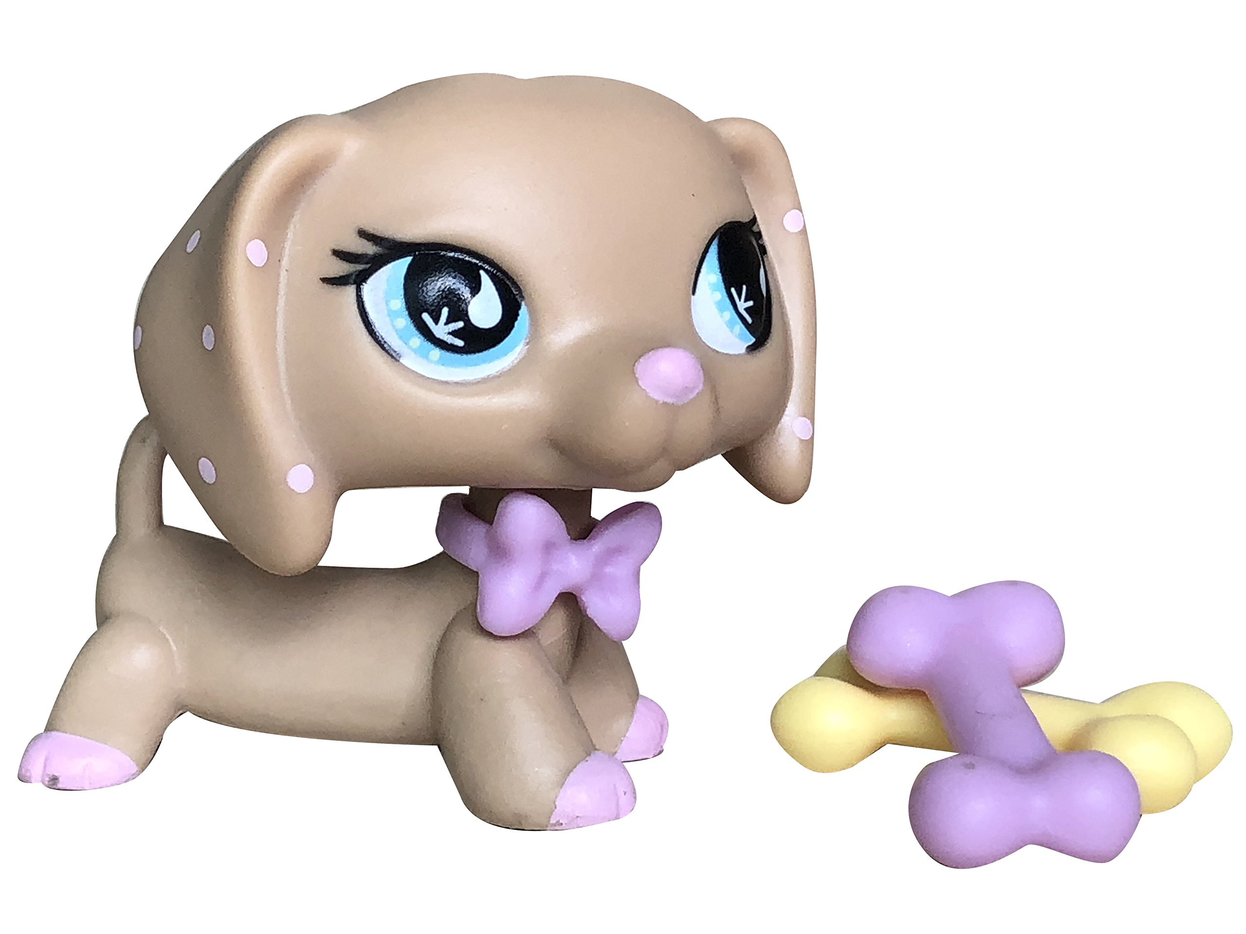 Toy Rare LPS Dachshund 909 Tan Dog Blue Eyes Puppy with Accessories Collection Toys Figure Rare Girl's Gift USA Warehouse