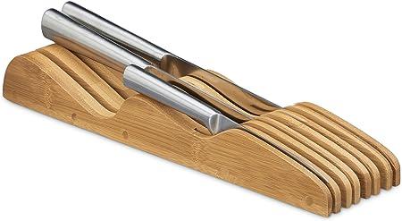 Relaxdays Reposacuchillos, para 7 Cuchillos, Organizador de cajón, Bambú, 5 x 9,5 x 40 cm, 1 Ud, Marrón, Madera, Naturaleza, 9.5 x 40 x 5 cm