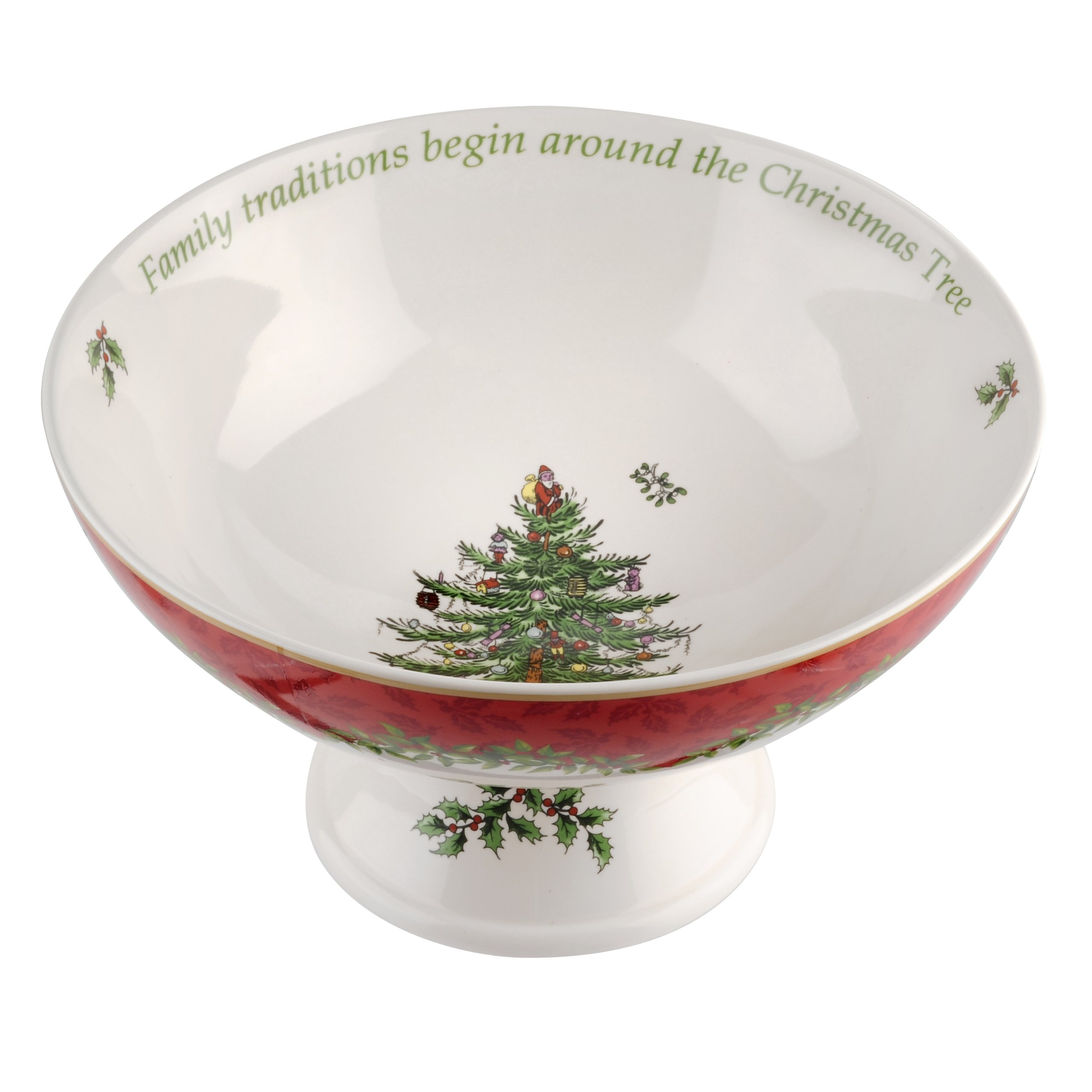 Spode Christmas Tree Annual 2013 Footed Compote Serving Bowl