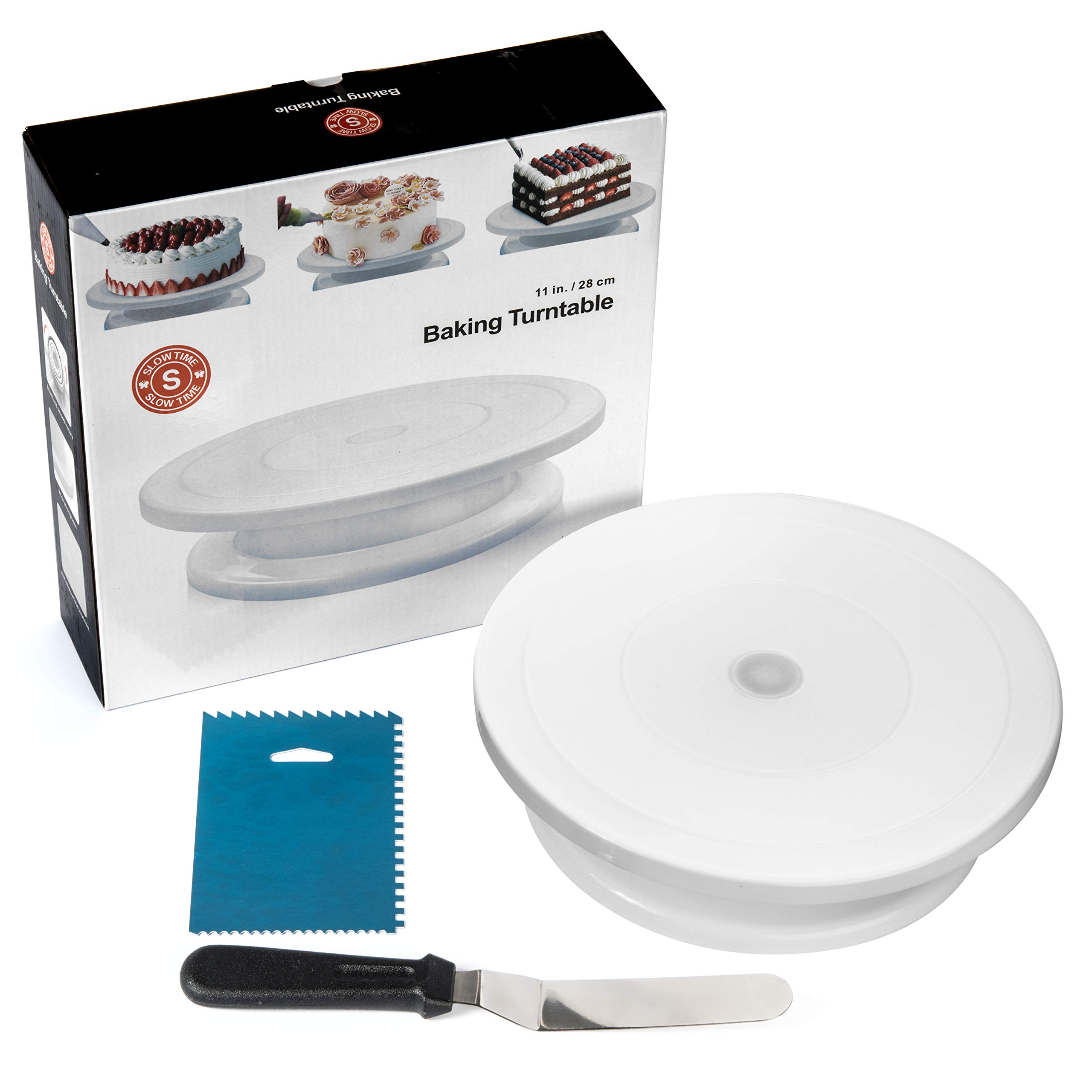 SlowTime Kitchen 11-Inch Rotating Cake Turntable | Bonus Offset Frosting Spatula and Icing Smoother Comb | Extra-Smooth Rotating Cake Stand Featuring Roller Bearing | Dishwasher Safe | Long Lasting