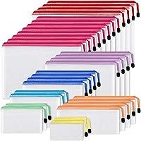 EOOUT 30pcs Mesh Zipper Pouch Document Bag, 8 Assorted Size, Waterproof Plastic Zip File Folders, Multipurpose for…