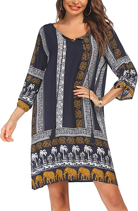 Damen V Neck Langarm Kleid Shirtkleid Linen Retro Vintage Floral Tunika Kleider