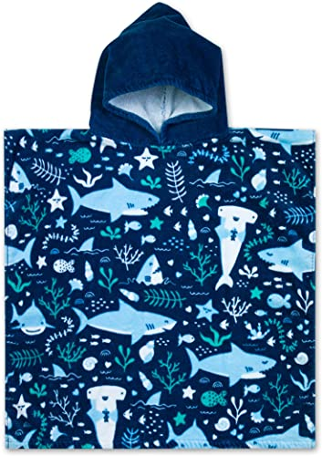 Baba & Bear Hooded Towel for Kids Swimsuit Cover Up for Beach, Pool, Bath (Shark)