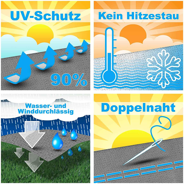 hanSe/® Marken Sonnensegel Sonnenschutz HDPE Rechteck 6x8 m Sand