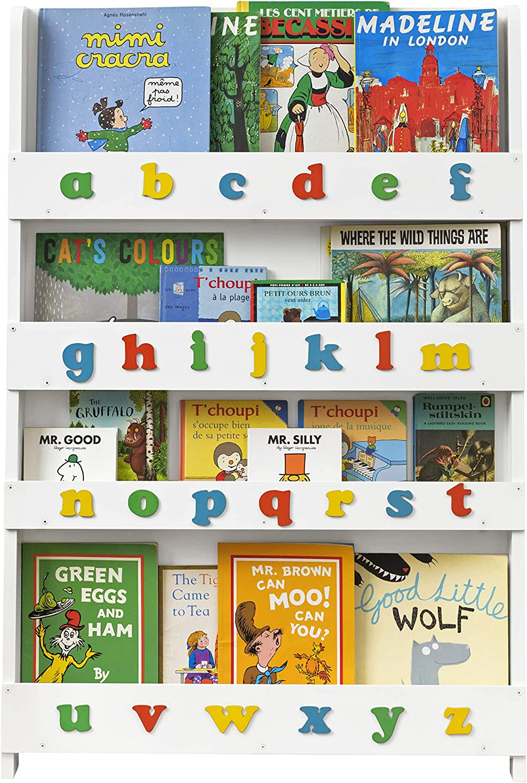 Tidy Books ® Estanteria Infantil, Librería de Pared para niños con abecedario 3D de Colores, Madera, Blanca, 115 x 77 x 7 cm, Eco Friendly, Hecho a ...