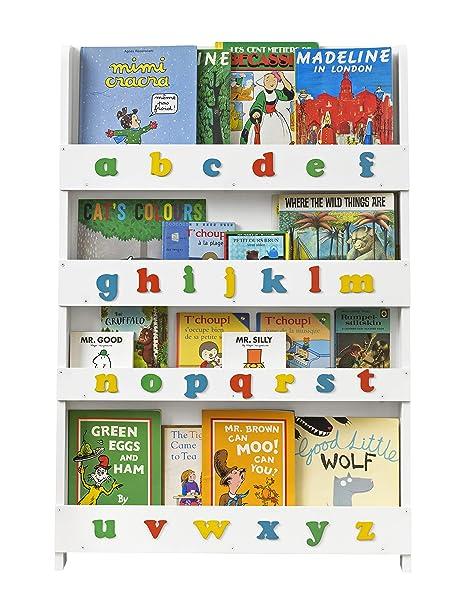 buy online 832fc 50d92 Tidy Books - Kids Bookshelf | White Bookshelf with 3D Color Alphabet |  Wooden Book Shelves for Kids - 45.3 x 30.3 x 2.8 in | ECO Friendly |  Handmade - ...