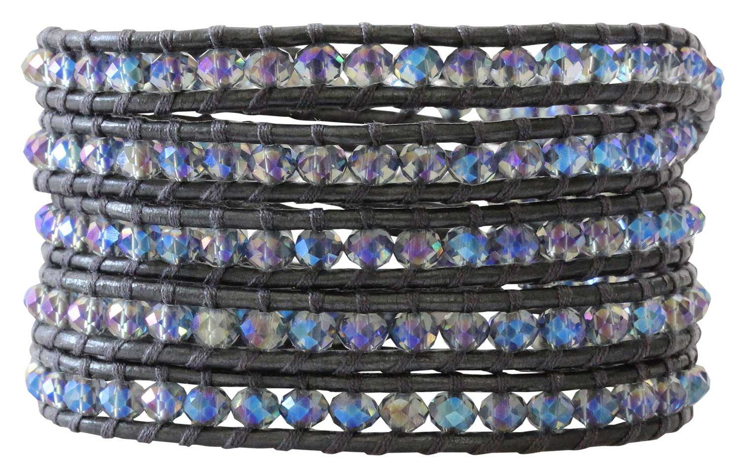 Chan Luu Crystal Denim Iridescent Dark Grey Leather Wrap Bracelet bs-3469
