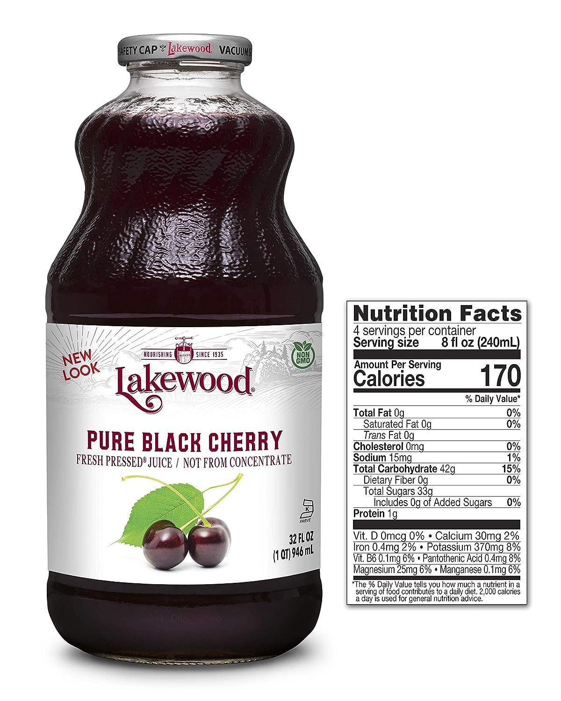 Lakewood Premium Pure Black Cherry, Fresh Pressed, 32 Fl Oz (Pack of 6)