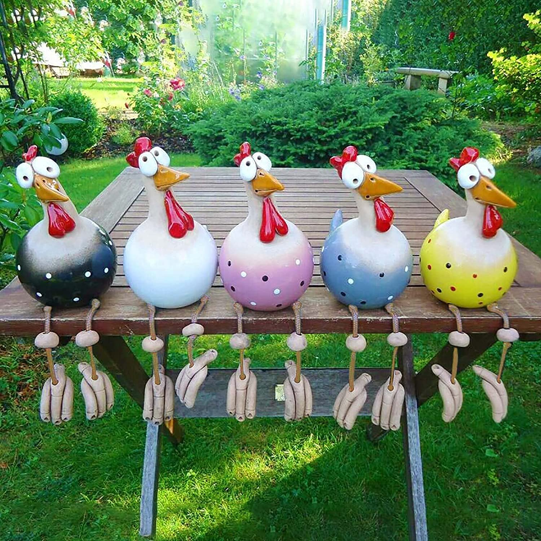 Garden Decor Ornaments Chicken Sculptures for Lawn Yard Porch,Daze Rooster Garden Statues Funny Rooster Decor Outdoor Art Sculptures,Ceramic Chicken Figurines-5 hanging chickens 25x13cm(10x5inch)