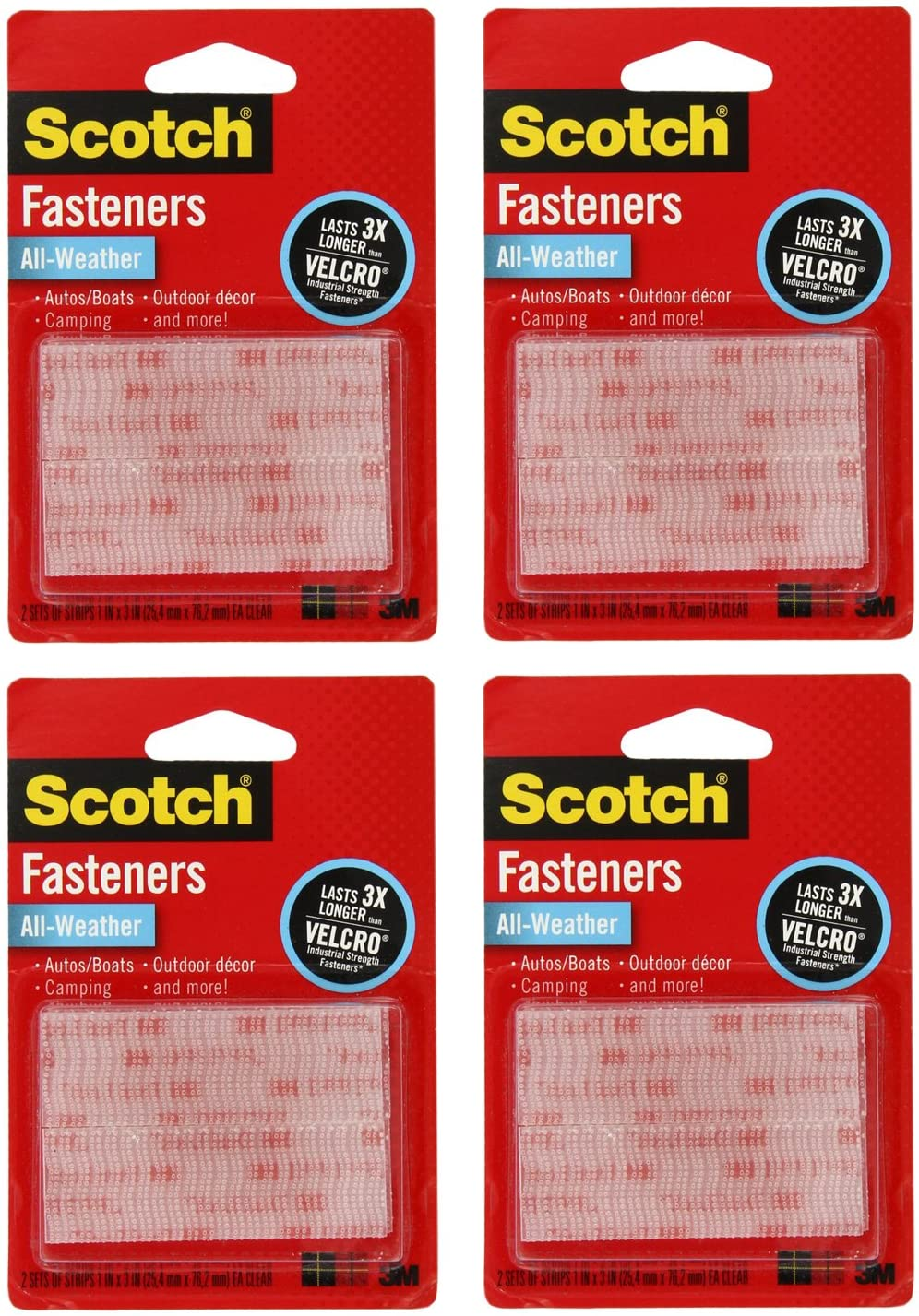 3M Scotch All-Weather EZPass iPass Fastlane Toll Fasteners, 8 Sets of 1 Inch x 3 Inches Strips, Clear (RFD7090) : Office Products