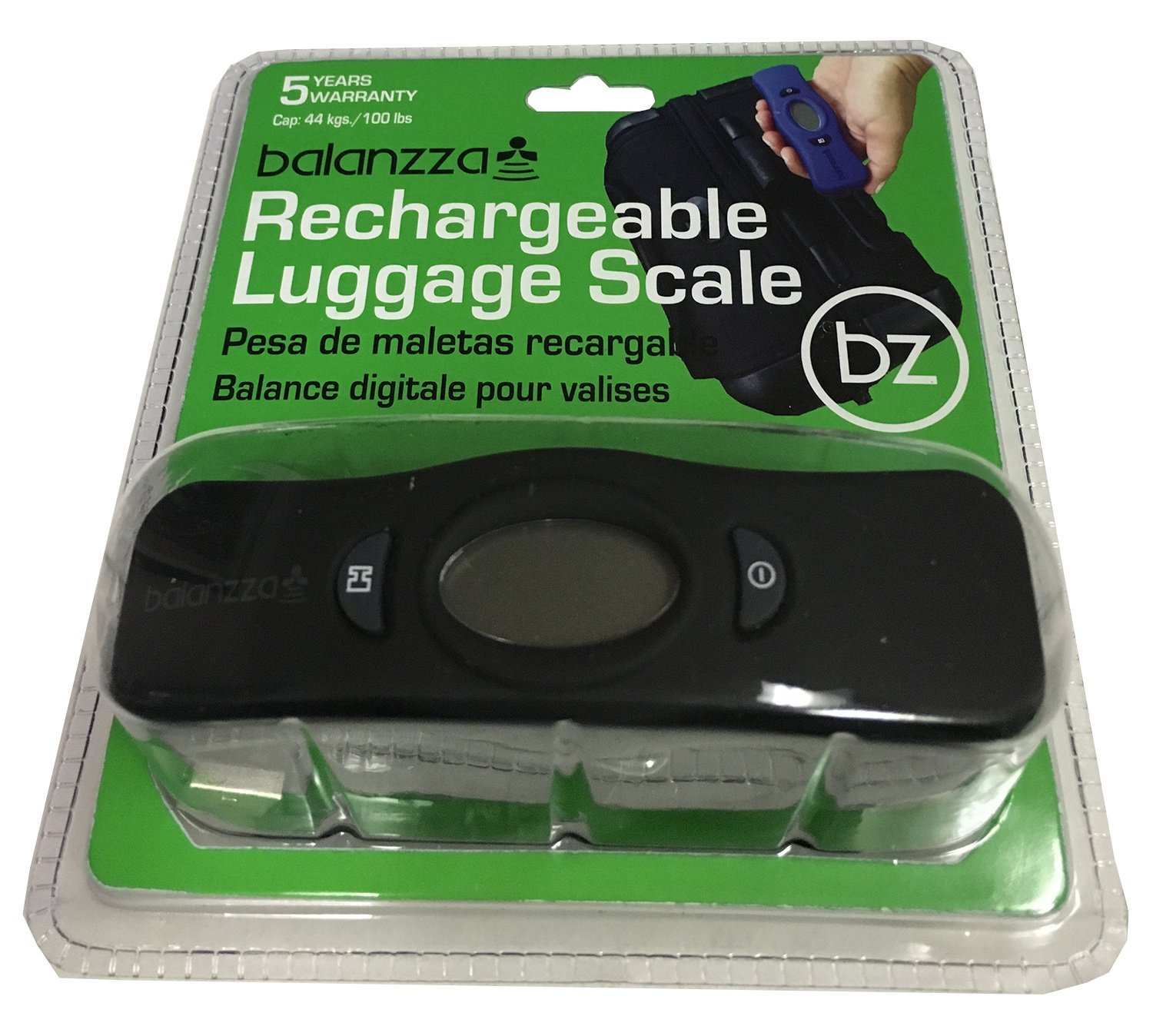 Balanzza MINI USB Rechargable Digital Luggage Scale Capacity with Backlight Display, BZ400U 5 years,Black,One Size