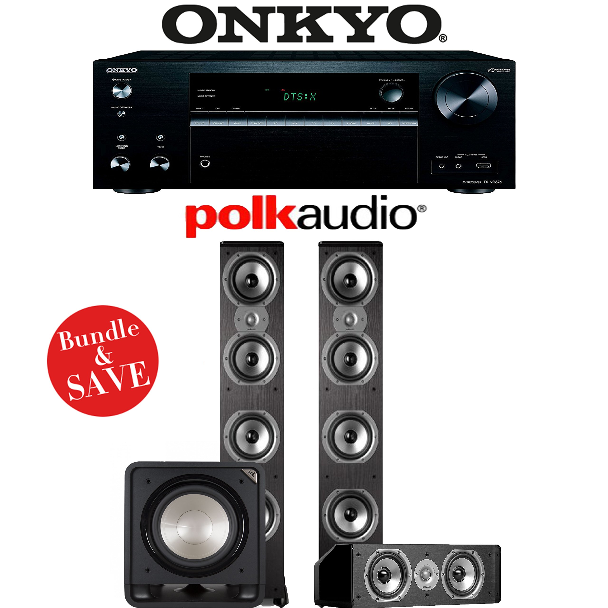 Onkyo TX-NR676 7.2-Channel 4K Network A/V Receiver + Polk Audio TSi 500 + Polk Audio CS10 + Polk Audio HTS12 - 3.1-Ch Home Theater Package by Polk Audio