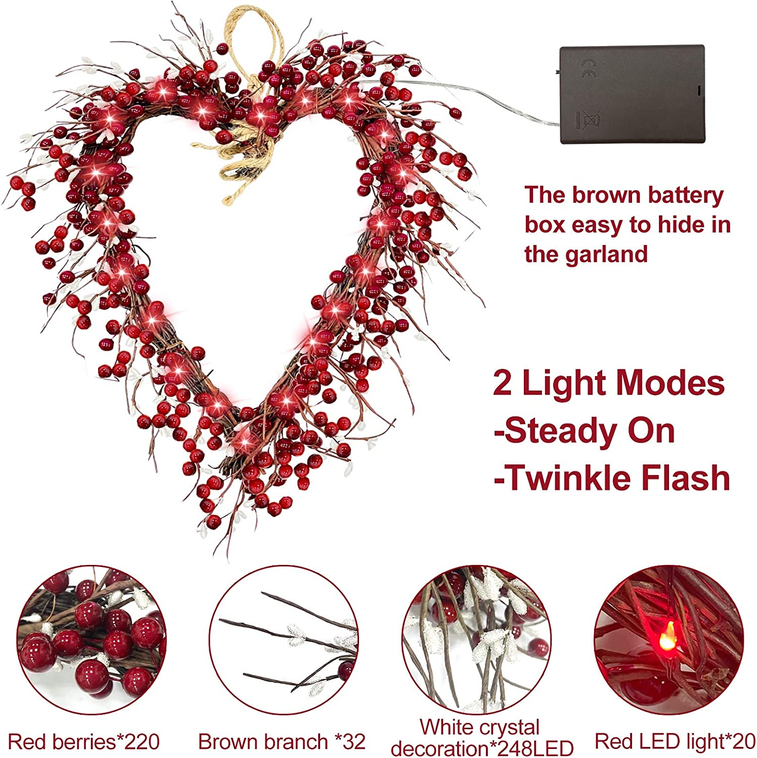 TURNMEON Valentines Day String Light Heart Shaped Party Decorations Battery Operated for Mothers and Fathers Day Holidays and Valentines Day Party Favors Supplies Birthday Wedding Anniversary