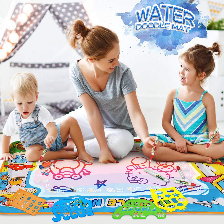 Juguete Educativo Regalo para ni/ños Esteras Agua Dibujo Pintura con 23 Accesorios de Dibujo Pizarra M/ágica AOLUXLM Doodle Agua,Juguete para Ni/ños,Alfombra de Aquadoodle para ni/ños