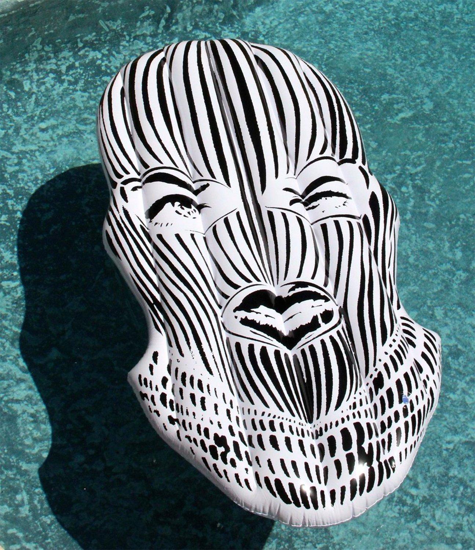 Floatie Kings FK-Badwood Badwood Ski Mask Pool Float, Black/White, 67''x31''x4''