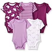 Hanes Ultimate Baby Flexy 5 Pack Short Sleeve Bodysuits, Purple Fun 0-6 Months