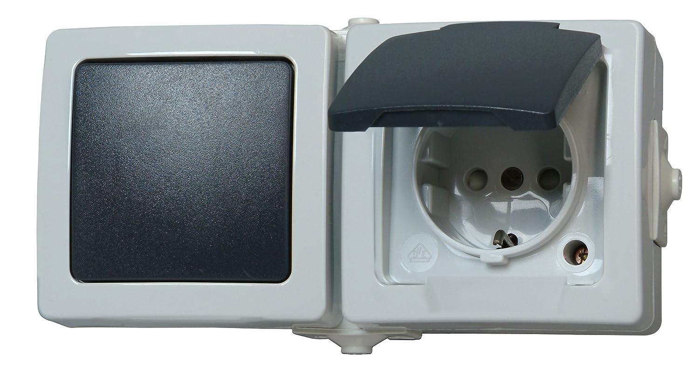 Kopp Nautic Steckdose und Schalter Kombination für Feuchtraum, IP44 ...