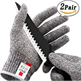 2 Pairs Cut Resistant Gloves in High Performance EN388 Certified Level 5 Protection Food Grade Kitchen Glove for Hand Safety & Hand Guard One Pair 3 Size Available! (Small)