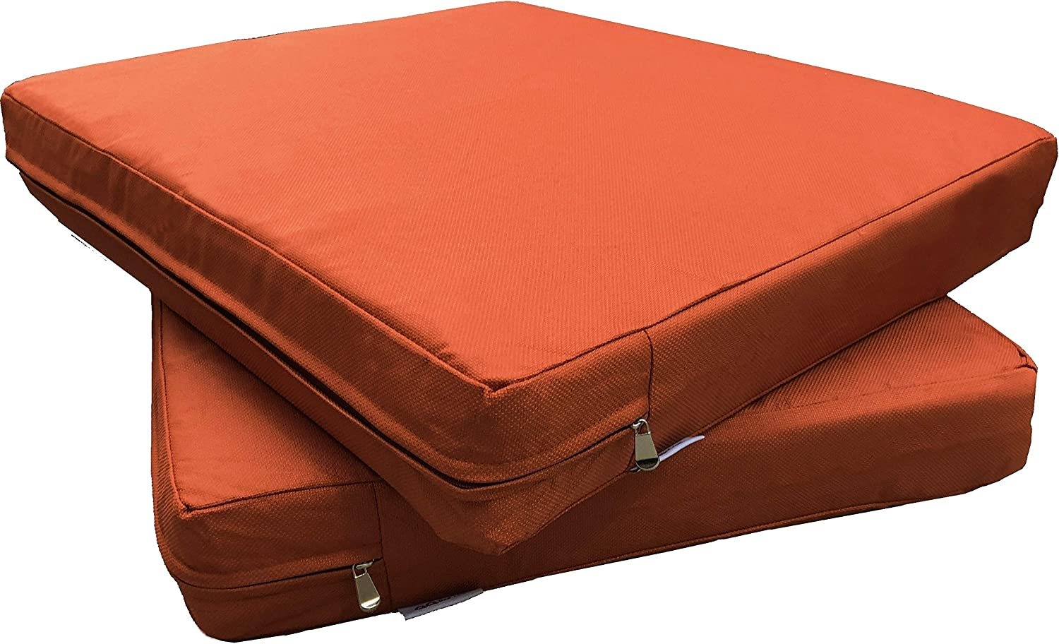 "QQbed 2 Pack Outdoor Patio Deep Seat Memory Foam (Seat and Back) Cushion Set with Waterproof Internal Cover - Size 20""X18""X4"", Rustic Rust"