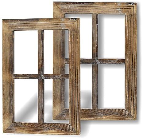 Amazon.com: Greenco Wooden Rustic Mount Window Frames ...