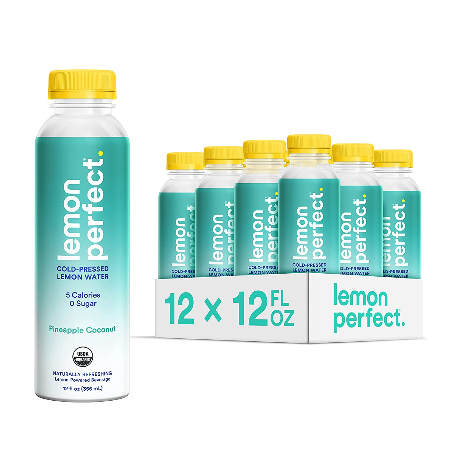 Lemon Perfect, Organic Cold-Pressed Lemon Water, Squeezed from Real Fruit, Flavored Water, Sugar-Free, Keto Certified, No Artificial Ingredients, Pineapple Coconut (12-Pack)