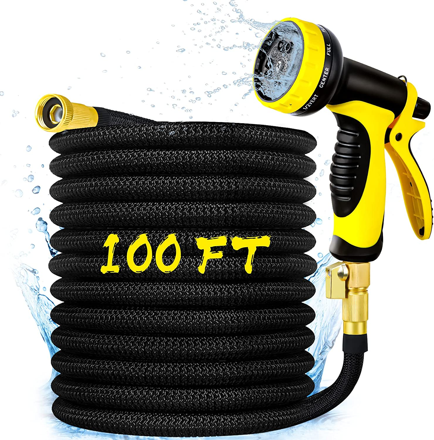 Garden Hose 100 FT, Smartland Expandable Water Hose, Expanding with 10 Function Nozzle, Durable 4 Layers Latex, Solid Brass Fittings, Extra Strength Fabric, Lightweight Yard Hose for Watering